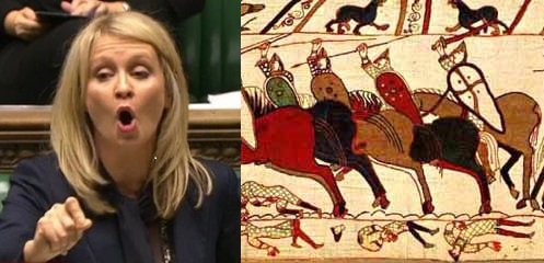 Ester McVey calls for Bayeux Tapestry to be burned because it depicts disabled people and foreigners